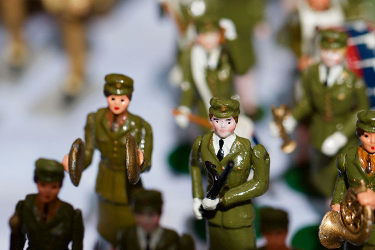 Soldier figurines on table
