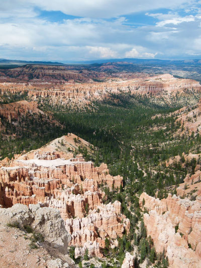High angle view of bryce canyons against sky