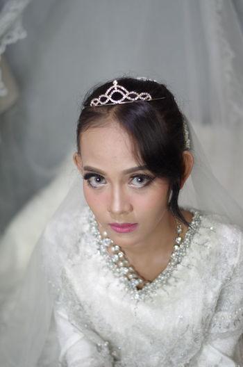 High angle portrait bride sitting indoors