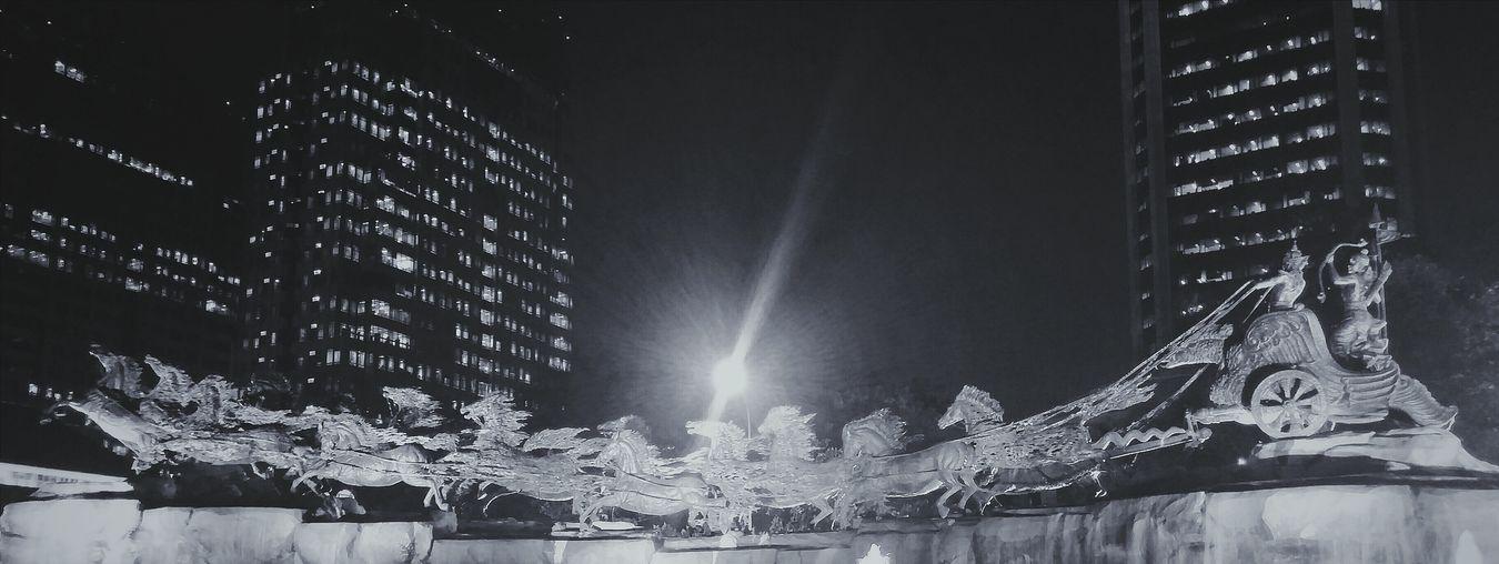 Patung Kuda Streetphotography Blackandwhite Monochrome Nightphotography Horses