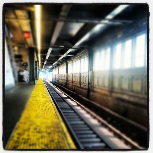 Subway station NYC Traintracks Instagramyourcity Yellowlines