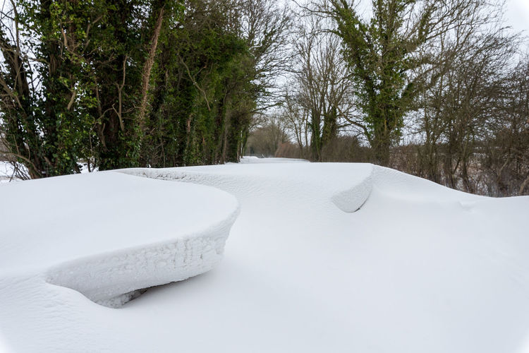 A deep wind blown and shaped snow drift blocks a country side tree lined lane. Beauty In Nature Blockage Blocked Cold Temperature Country Lane Countryside Day Landscape Nature No People Outdoors Remote Sky Snow Snow Drift Tranquility Tree Weather White Color Winter