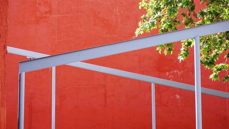 Full frame shot of red railing of building