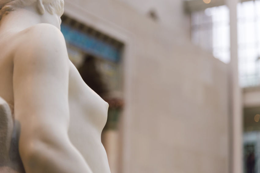 Detail of sculpture in Metropolitan Museum MetropolitanMuseumofArt Museum Culture NYC Landmark Adult Day People Architecture Sculpture Statue Woman Body Part Marble Focus On Foreground Indoors  Selective Focus Midsection Exhibition Greek