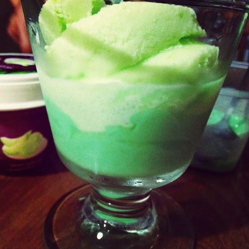 Taking a same photo with my daddy :D Melon Ice Cream Pandan Pudding