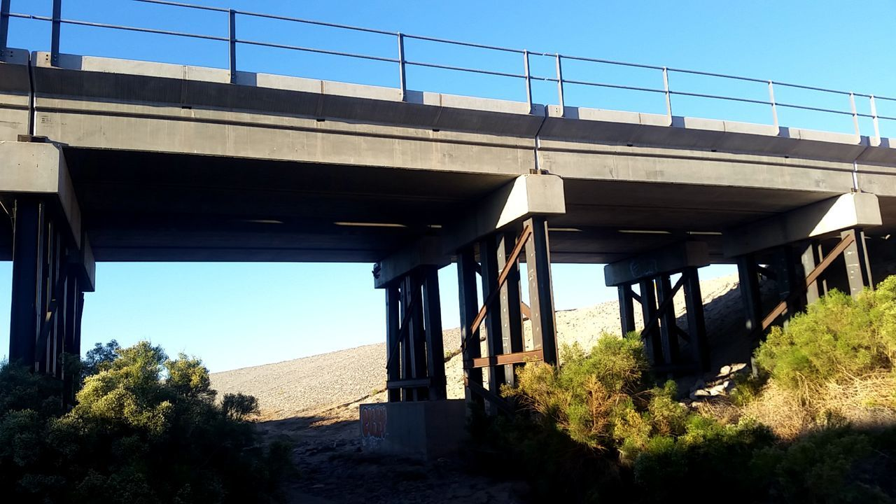 bridge - man made structure, architecture, built structure, connection, clear sky, transportation, day, sunlight, outdoors, bridge, no people, low angle view, nature, sky, tree, underneath