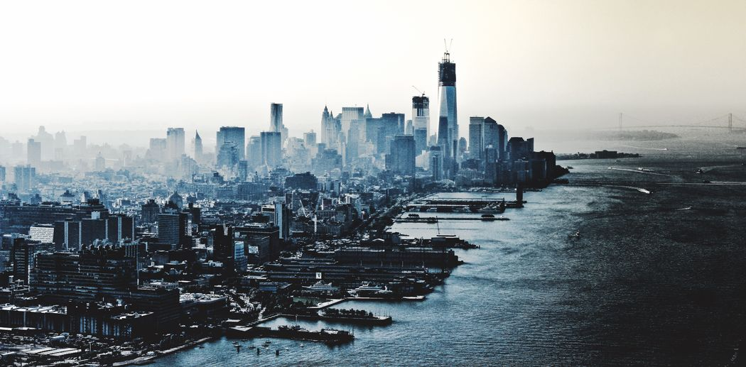 This is like a dream. But it isn't! Architecture City Cityscape Skyscraper Water Travel Destinations Tower Urban Skyline Financial District  Office Building Aerial View River Wide Shot Fog City Life New York City Manhattan United States A Bird's Eye View First Eyeem Photo