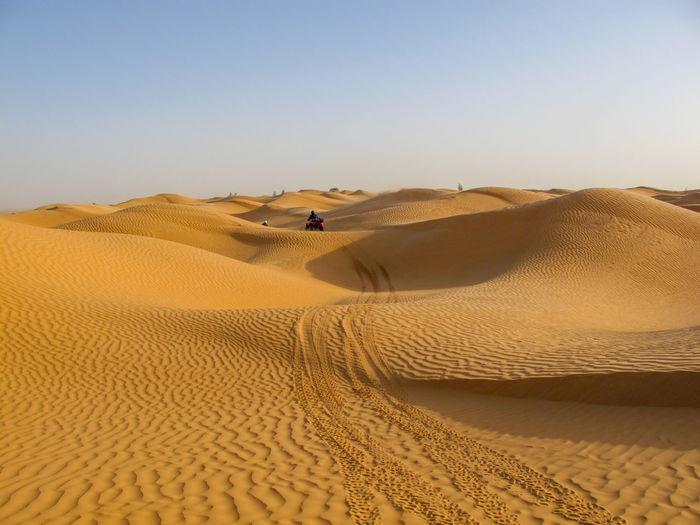 Tunisia travel desert Desert Sand Dune Land Sand Landscape Arid Climate Scenics - Nature Climate Sky Environment Nature Non-urban Scene Remote Day Tranquility Clear Sky Tranquil Scene Beauty In Nature One Person Leisure Activity