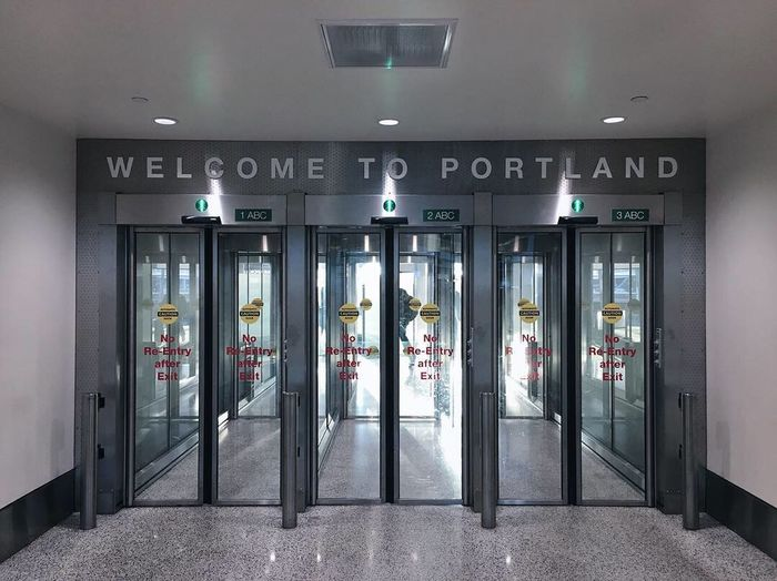 quick trip to PDX this a.m. Pdx Airport Portland, OR Security Entrance Architecture Safety Sign