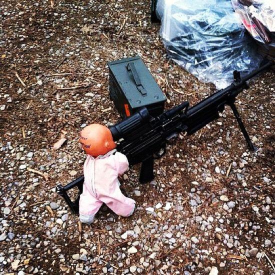We have a weird sense of humour lol.... Army Military Baby C9 Machinegun M249 Funny Hilarious Random Boredom