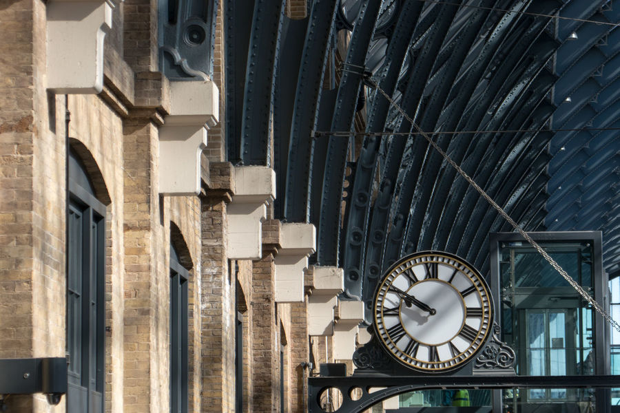 Traditional Roof and Clock in King's Cross 9:50 King's Cross, St Pancras International Roof Station Architecture Built Structure Clock Clock Face Day Minute Hand Roman Numeral Time
