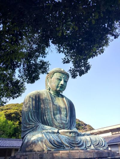 Statue Sculpture Religion Outdoors Spirituality Buddha KamakuraLow Angle View Day Art And Craft Japanese Temple