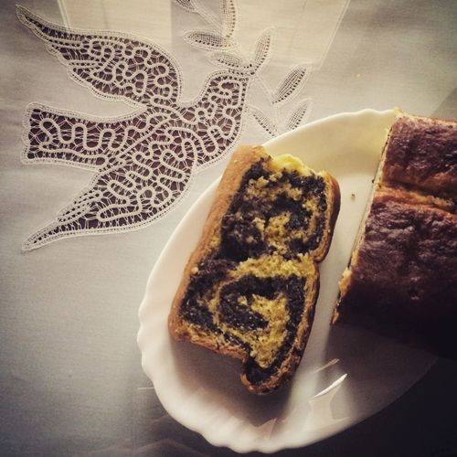 My World Of Food Potica Holiday Desserts Slovenia PoppySeed It is a slovenian festive dish, made out of dough and different fillings. This one is from poppy seed filling. On the photo is also the traditional Idrija Lace .