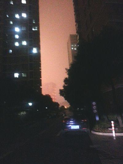 City Apartment View Windows Night Outdoors Keqiaoshaoxing