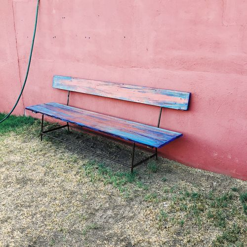 Bench Seat Bench Pink Blue Grass