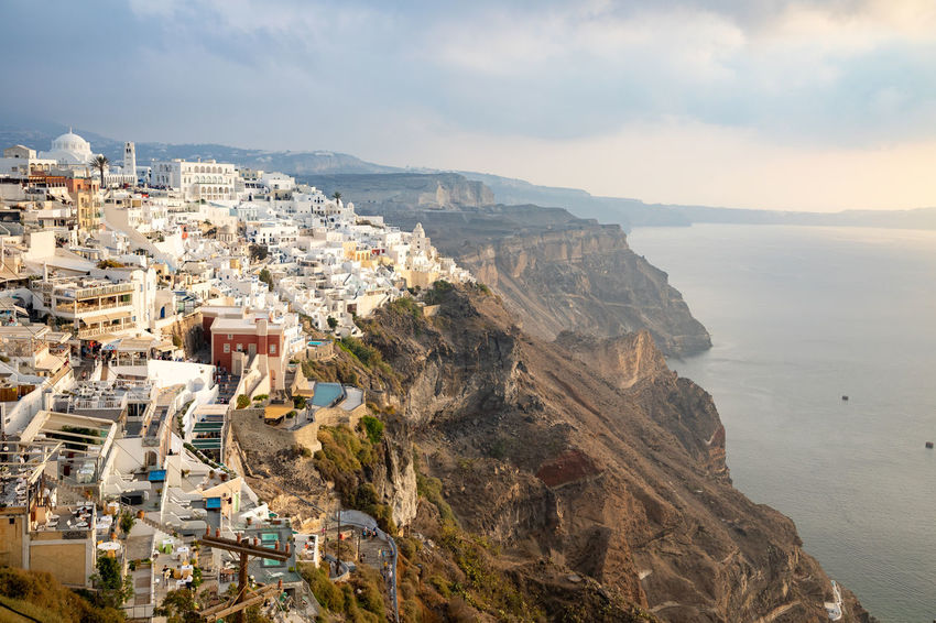Greece Santorini Oia Thira Architecture Building Exterior Sky Built Structure City Cloud - Sky Nature Mountain Building Sea Water Residential District Day Land Beauty In Nature Cityscape No People High Angle View Scenics - Nature Outdoors TOWNSCAPE