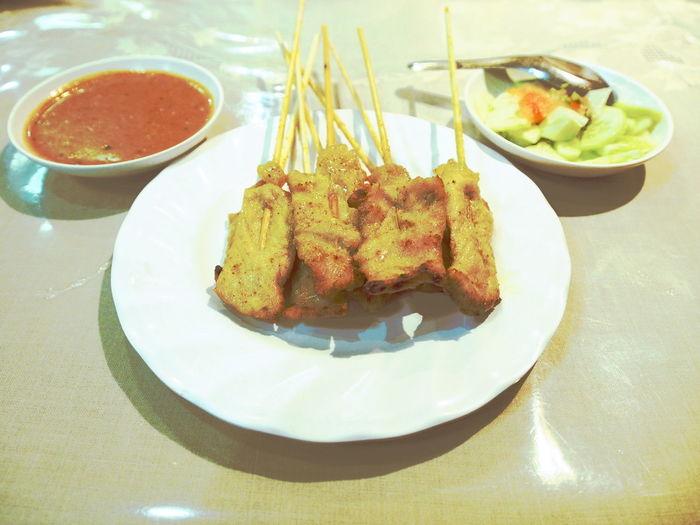 Food Freshness Gourmet Indulgence Meal Meat Plate Pork Satay Porksatay Ready-to-eat Satay Serving Size Thai Food
