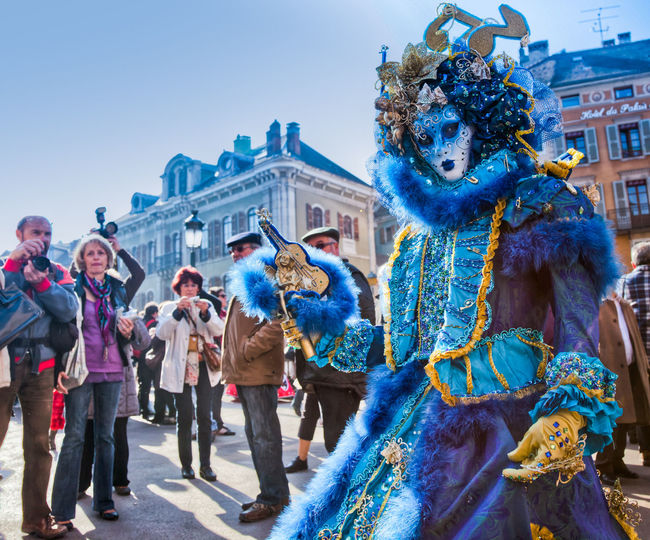 Participants at the Annual Carnival Venitian d' Annecy in Annecy, France. Annecy Annual Carnival CONCEAL Costume Costumes Culture Decorative Dress Elégance Festival France Hide Mask Masquarade Mystery People Performance Tradition Venitien Mask