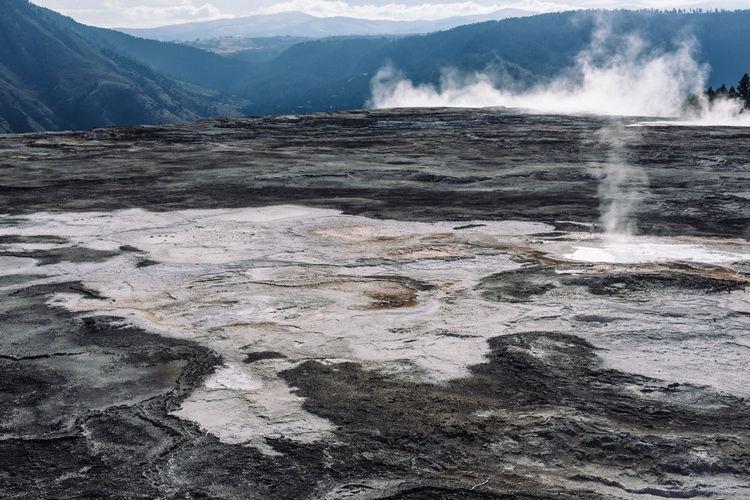 Idyllic Shot Of Hot Spring Landscape At Yellowstone National Park