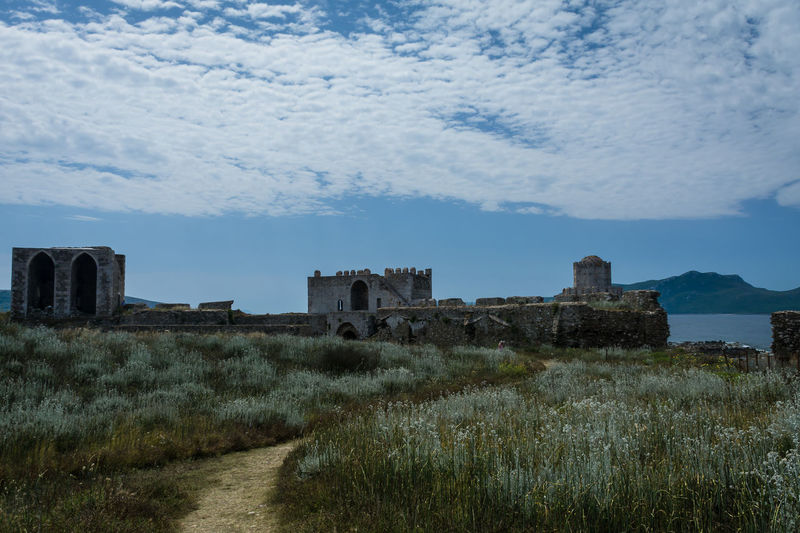 Castle of Methoni.. Ancient Ancient Civilization Architecture Building Exterior Built Structure Castle Day Grass Greece History Methoni Nature No People Old Ruin Outdoors Path In Nature Sky Travel Travel Destinations Lost In The Landscape