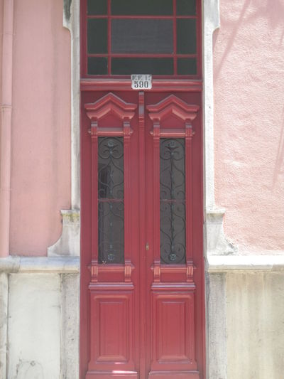 Architecture Building Exterior Built Structure Closed Communication Day Door Ellegance Entrance No People Old Beauty Old Bilding Old Door Old Entrance Old Fashioned Old Lisbon Old Lisbon Door Old Style Outdoors Pink Building Red Red Door Sophistication Symetry Text