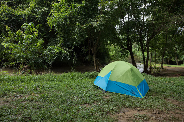 Tent in field