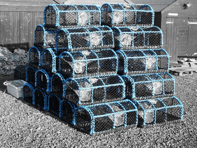 Arrangement Container Fishing Large Group Of Objects Lobster Pots Neat Repetition Stack Pattern Pattern, Texture, Shape And Form Blue Lindisfarne Holy Island Northumberland Harbour