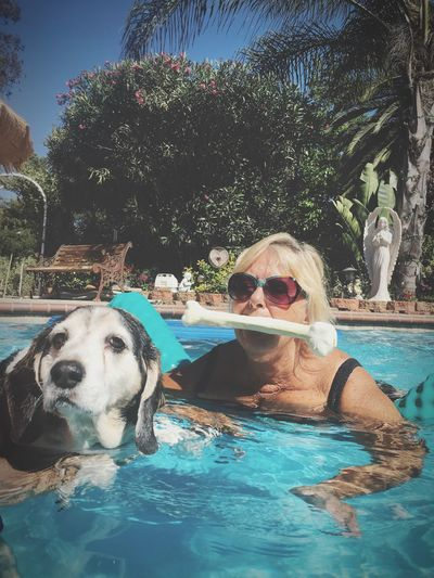 Portrait of young woman with dog swimming in pool