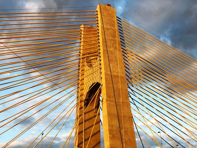 Ponte Estaiada EyeEm Selects Built Structure Architecture Low Angle View Building Exterior Sky Cloud - Sky Building No People Day Modern Pattern Outdoors Suspension Bridge City Tall - High