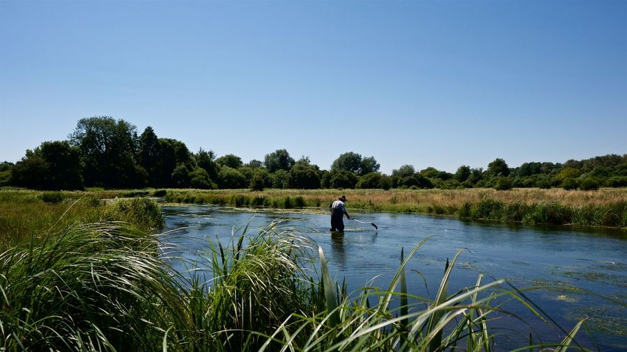 Man Cutting Riverweed In Water Against Clear Blue Sky