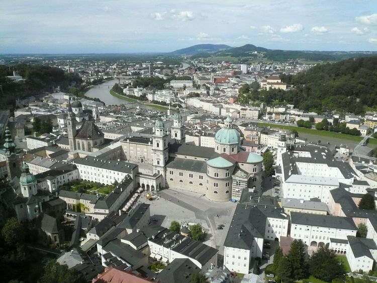 Aerial View Architecture Building Exterior Built Structure City Cityscape Day Dome High Angle View No People Outdoors Residential Building River Salzburg, Austria Sky Travel Destinations