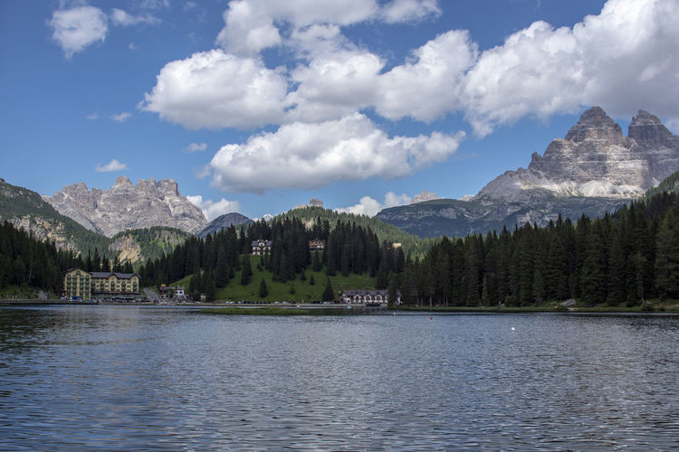 Architecture Beauty In Nature Cloud - Sky Day Formation Lake Misurina Lake Mode Of Transportation Mountain Mountain Range Nature No People Outdoors Plant Scenics - Nature Sky Tranquil Scene Tranquility Transportation Tree Water Waterfront