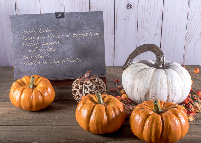 Chalkboard with autumn list surrounded by pumpkins Apple Cider Autumn Colors Text Thankgsiving Chalk Chalkboard Day Food Freshness Halloween Indoors  Leaves Nightshot No People Pumpkin Pumpkin Flavored Sweater Vegetable Walk In The Woods