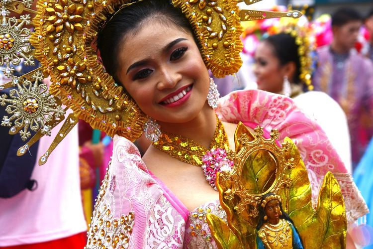 parade participants of Sumakah Festival in Antipolo City, Philippines dance in the streets in their colorful costumes ASIA Asian  Philippines Filipino Beautiful Beautiful Woman Females Lady Woman Antipolo, Rizal Ph Sumakah Festival Festival Festival Season Fiesta Costume Dance Dancer Dancing Street Dance Tradition Culture Parade Headwear Young Women Smiling Beautiful Woman Beauty Beautiful People Portrait Happiness