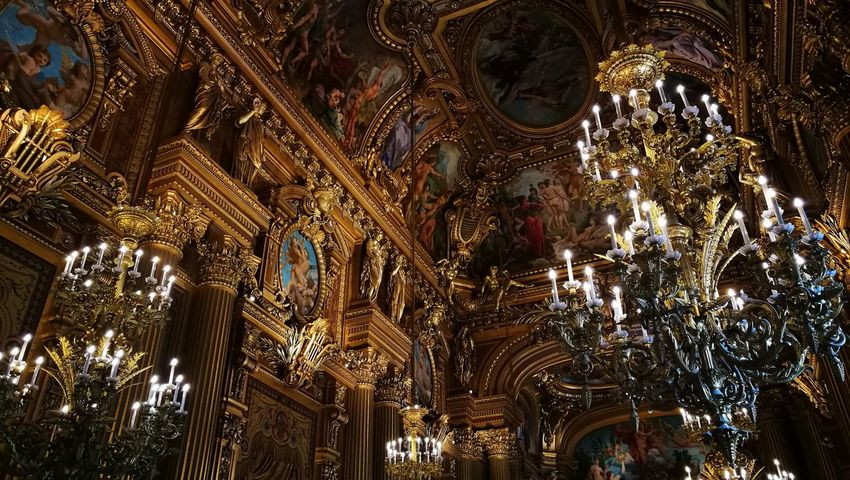 Low Angle View Illuminated Indoors  No People Arquitecture Yellow Paris Paris, France  Opera Garnier Ópera De Paris Palace Palais Garnier Opera House Palais Garnier EyeEm Gallery The Week On EyeEem Electricity  Film EyeEm Best Shots Lights Architecture Built Structure Streetphotography