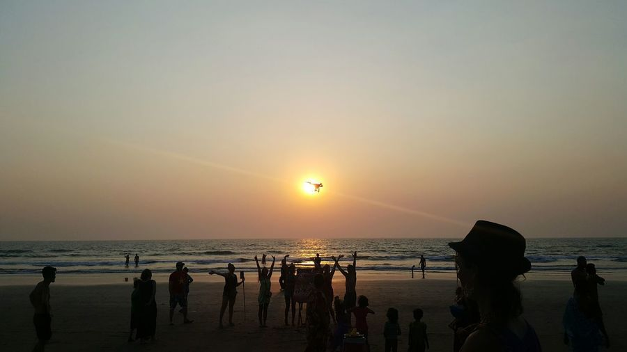 Arambol Beach India Goa Drone Moments Drone  Sunset Sea Beauty In Nature Sun Beach Outdoors Nature Travel Destinations Romantic Sky Scenics People Horizon Over Water Togetherness Unity Adult Sky Adults Only Day
