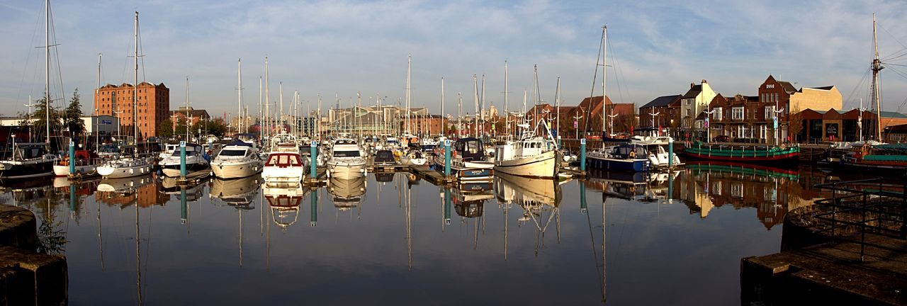 Reflections of the Marina United Kingdom Nautical Vessel Water Moored Transportation Reflection Harbor Building Exterior Waterfront Mast Architecture Sailboat Outdoors City EyeEmNewHere Reflection Harbor No People City