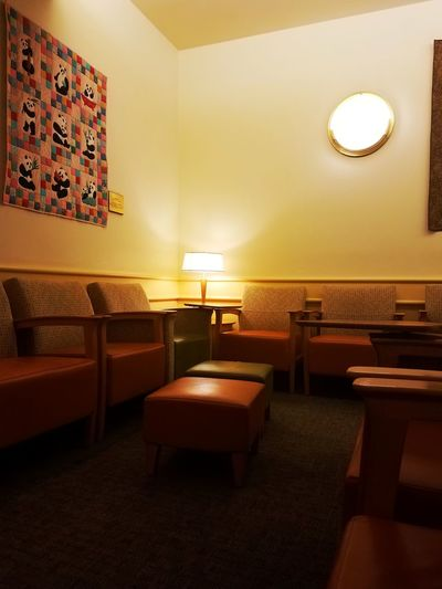 Waiting Room Of Hell Indoors  Chair Illuminated Lighting Equipment Table Absence Empty Light - Natural Phenomenon Electric Lamp Electric Light Seat Pendant Light Dining Table Arrangement Glowing Large Group Of Objects Modern Lobby