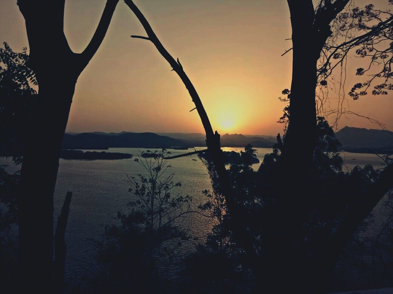 sunset, tree, silhouette, nature, beauty in nature, branch, scenics, sea, tranquil scene, water, no people, tranquility, tree trunk, outdoors, sky, mountain, bare tree, foreground, landscape, horizon over water, day