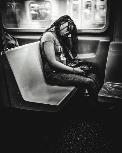 Man sitting in train