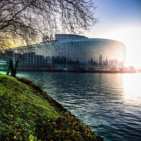 The City Light Strasbourg Parlementeuropéen Sunset Architecture Water Reflection Picoftheday Photography City