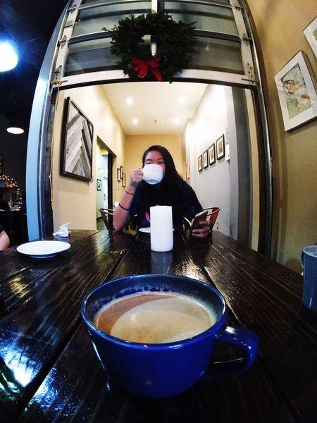 Lifestyles Indoors  One Person Night People Adults Only Adult IPhoneography Fisheye Shotonmoment Coffee Blendashburn Latte