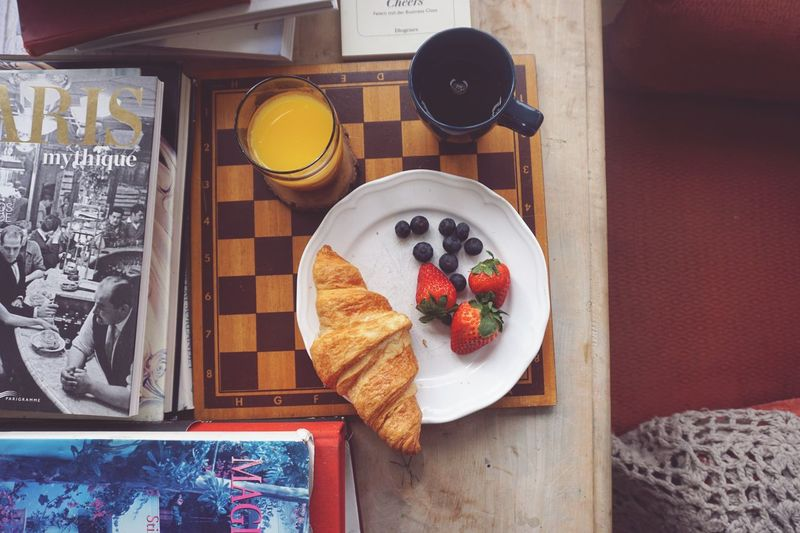 Directly above of breakfast at table Still Life StillLifePhotography Lunch Croissant Coffee Food Food And Drink Fruit Healthy Eating Berry Fruit Meal Freshness Table Directly Above High Angle View No People Ready-to-eat Breakfast Wellbeing Drink Still Life Strawberry Plate