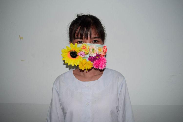 Women wear beautiful masks to prevent covid-19