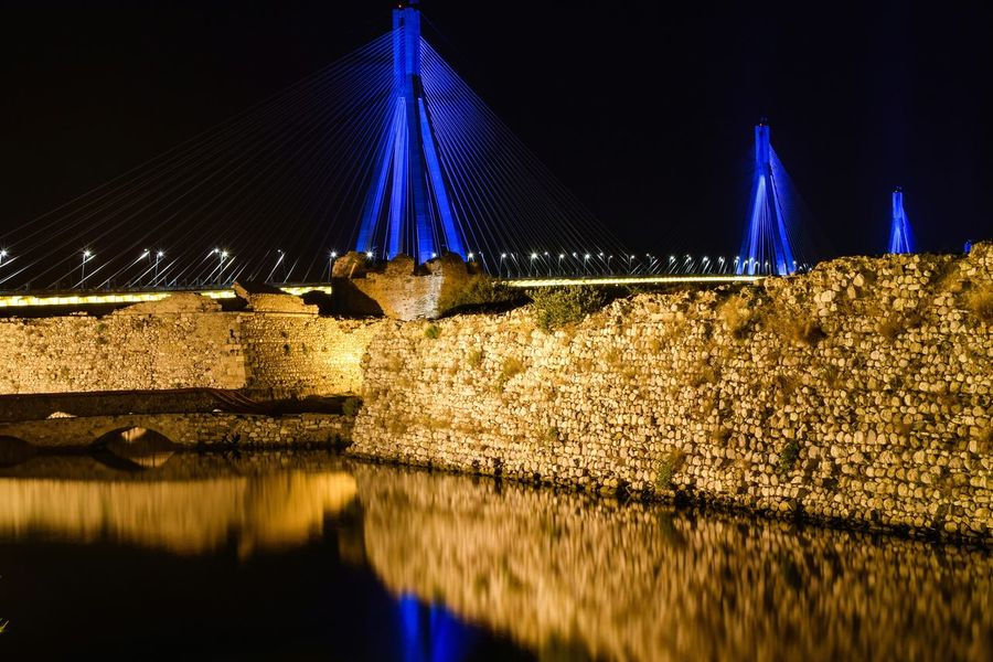 Bridge reflection Reflection Night Castle Long Exposure Nightphotography Bridge Greece Photooftheday Adapted To The City