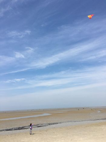 Play with kite in the beach Kite Sky Sea Beach Land Water Beauty In Nature Cloud - Sky