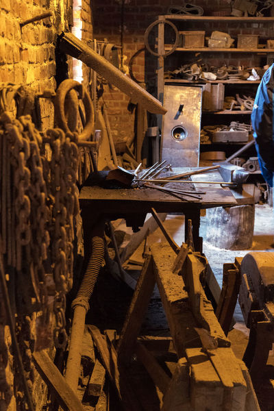 WErkstatt Abundance Architecture Chains Forge  Full Frame History Indoors  Large Group Of Objects Man Made Object Messy Metal No People Repetition Shelf Wood - Material Wooden Workshop