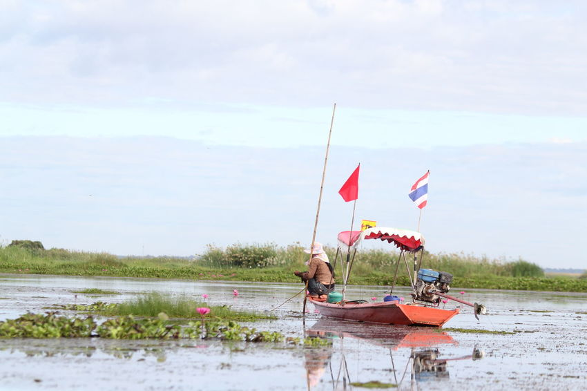 Red Lotus Red Lotus Lake Red Lotus In Thailand Red Lotus Thailand Beauty In Nature Lotus Water Lily Water Lake Sky Transportation Real People Nature Nautical Vessel Day Flag Cloud - Sky Women People Mode Of Transportation Leisure Activity Lifestyles Men Sitting Outdoors