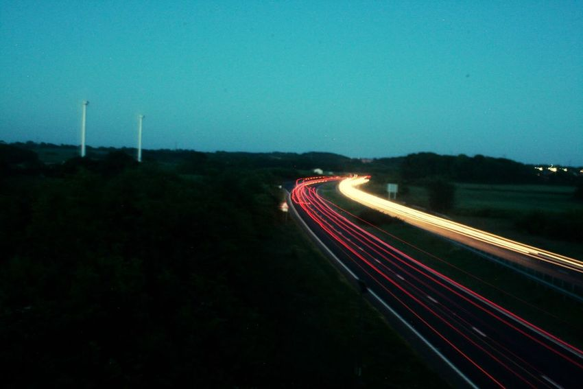 Polegate bypass on a hot evening. Light Trail Long Exposure Motion Illuminated Transportation Night Blurred Motion No People Road Outdoors High Street Sky