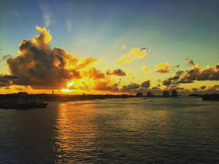Sunset Nassau Sunset Nassau Sunset Scenics Orange Color Nature No People Water Sea Tranquil Scene First Eyeem Photo